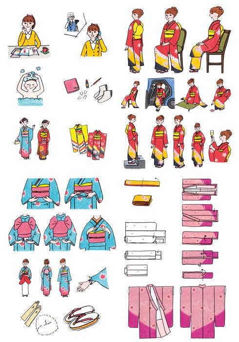 主婦と生活社振袖記念日 2014挿絵のお仕事 Illustrator