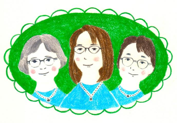 お友だち3人のオーダーイラスト Illustrator イラストレーター 竹永